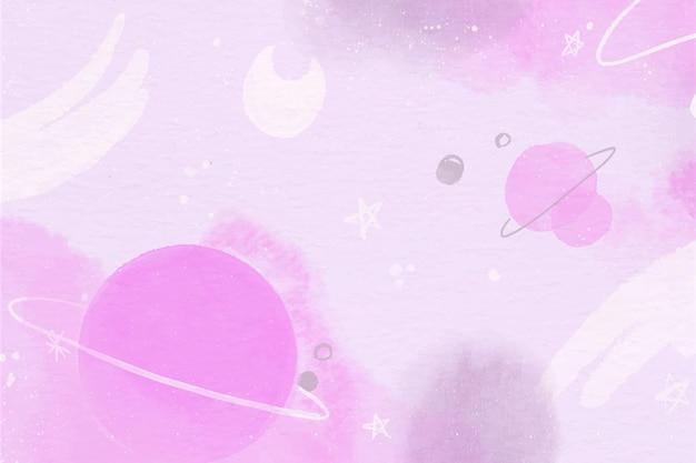 Papier Peint Planètes Aquarelle Monochrome Vecteur gratuit