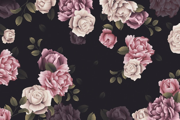 Papier Peint Roses Aquarelle Vecteur gratuit