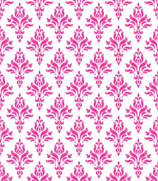 Papier Peint Style Classique De Damassé Rose Et Blanc Sans Couture Baroque Vecteur Premium