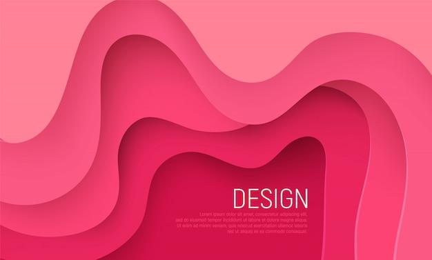 Papier rose coupé fond avec des couches d'ondes roses Vecteur Premium