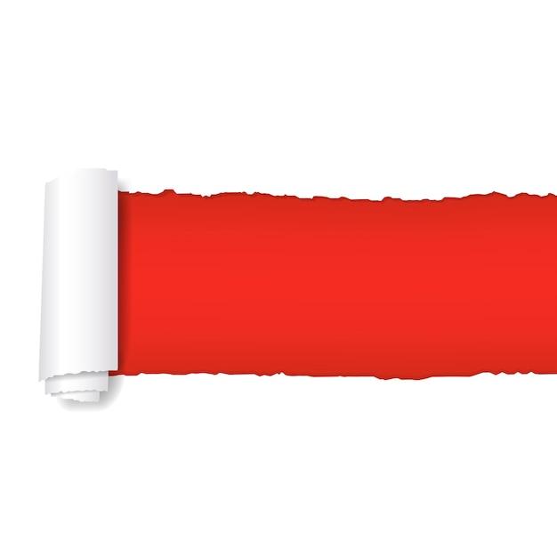 Papier rouge déchiré Vecteur Premium