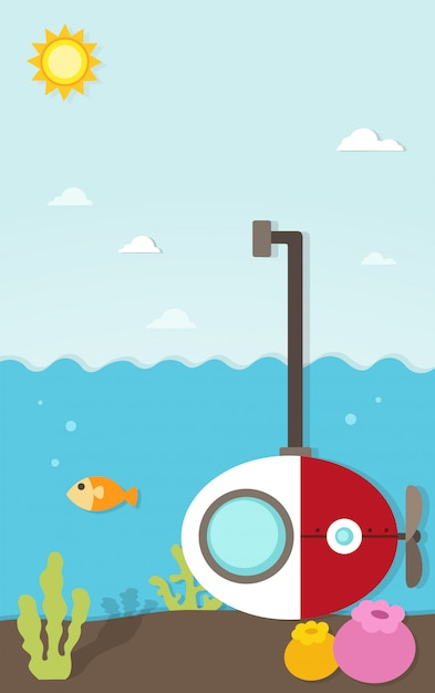 Papier sous-marin sous la mer Vecteur Premium
