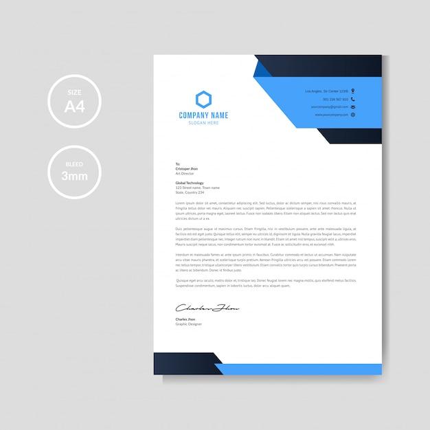 Papier à en-tête bleu moderne Vecteur Premium