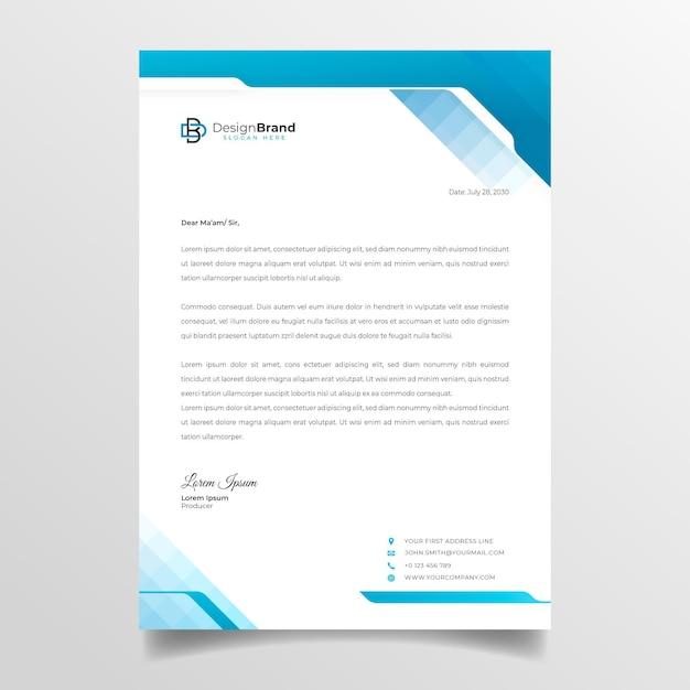 Papier à En-tête Commercial Général Vecteur gratuit