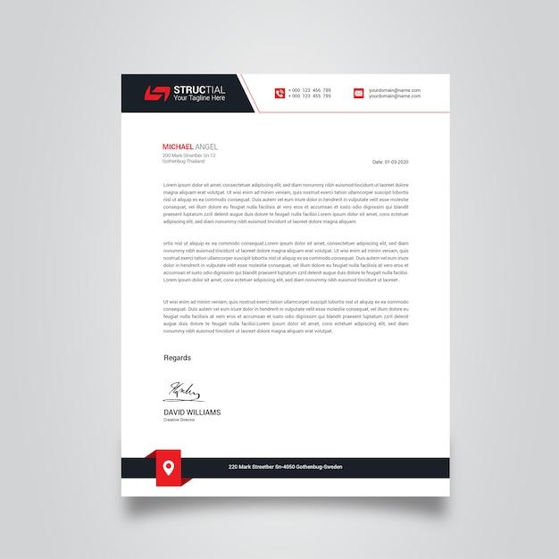 Papier à en-tête d'entreprise Vecteur Premium