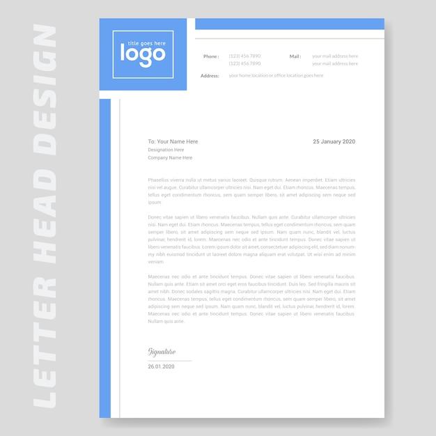 Papier à en-tête simple bleu Vecteur Premium