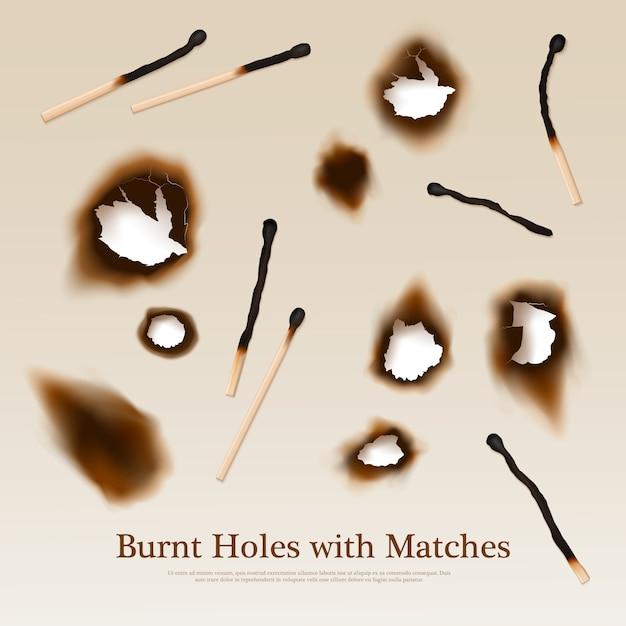 Papier Avec Trous Brûlés Et Allumettes Vecteur gratuit