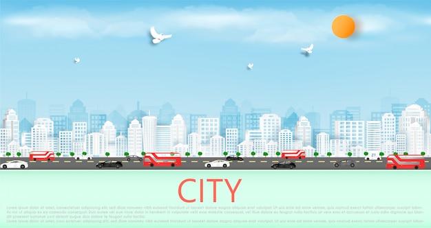 Papier de vecteur coupé et dans la grande ville avec des bâtiments et des maisons. Vecteur Premium