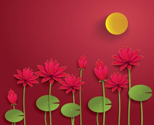 Papier vecteur lotus. Vecteur Premium