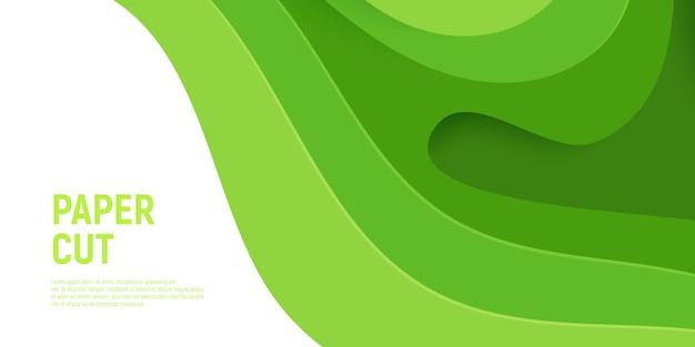 Papier vert coupé avec couches de vagues abstraites et de fond abstrait 3d slime. Vecteur Premium