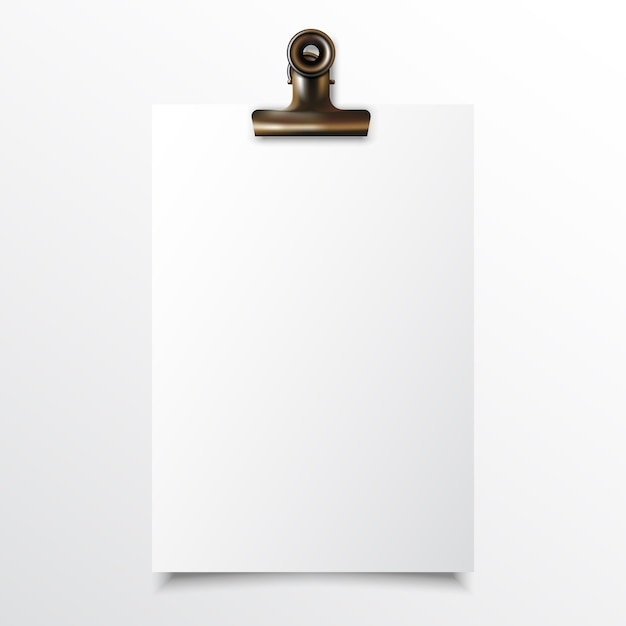 Papier vertical vierge réaliste maquette avec pince-notes or Vecteur Premium