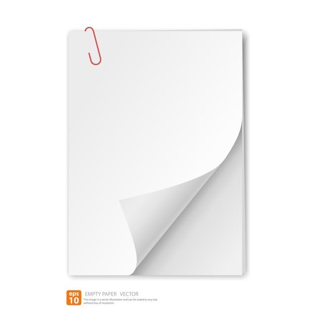 Papier vide avec clip Vecteur Premium