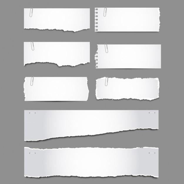 Papiers déchirés avec clips pack Vecteur gratuit