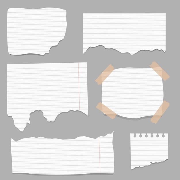 Papiers Déchirés, Morceaux De Page Déchirés Et Morceau De Papier De Note De Scrapbooking. Vecteur Premium