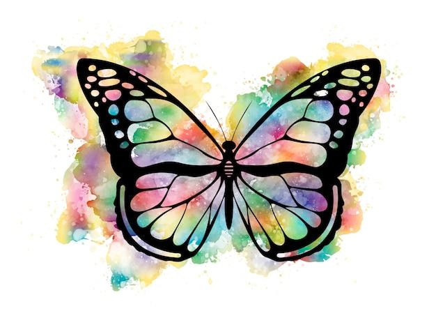 Papillon coloré à l'aquarelle Vecteur Premium