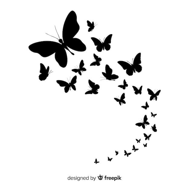Papillon Essaim Silhouette Fond Vecteur Premium