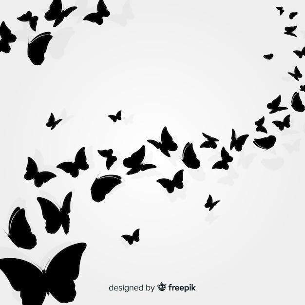 Papillon essaim silhouette fond Vecteur gratuit