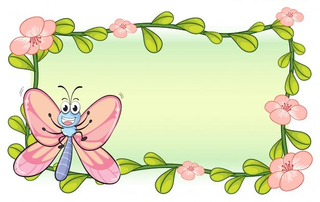 Un papillon et une fleur Vecteur gratuit