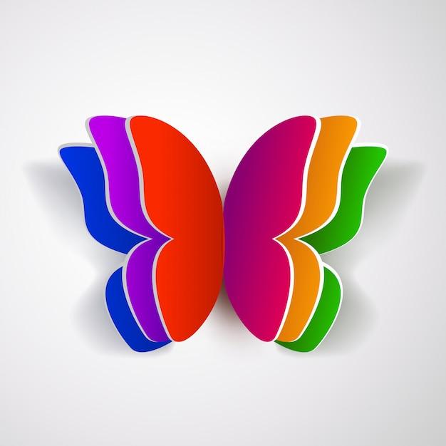 Papillon En Papier Coloré Vecteur Premium