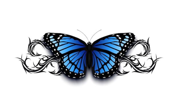 Papillon Réaliste Sur Le Dessus De L'ornement Tribal Dessiné Han Abstrait. Illustration De Modèle De Tatto. Vecteur Premium