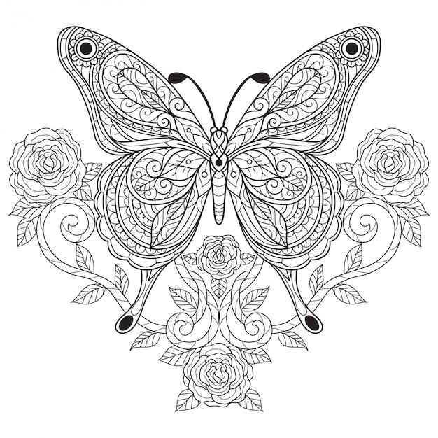Papillon Avec Rose Illustration De Croquis Dessines A La Main Pour Livre De Coloriage Adulte Vecteur Premium