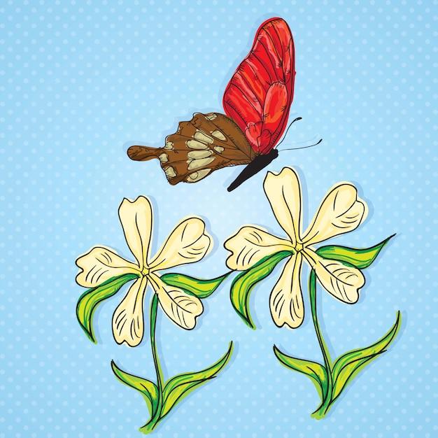 Papillon rouge et marron avec des fleurs blanches sur fond bleu Vecteur Premium