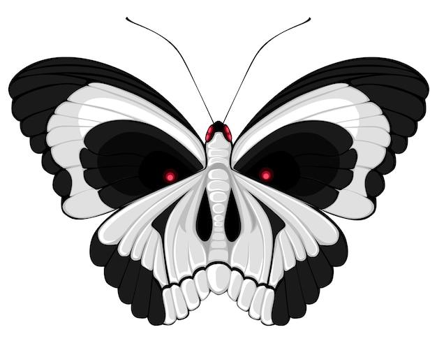 Papillon Terrible Avec Un Crâne Sur Les Ailes Vecteur Premium