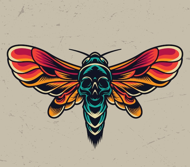 Papillon Tête De Mort Volante Colorée Vintage Vecteur gratuit