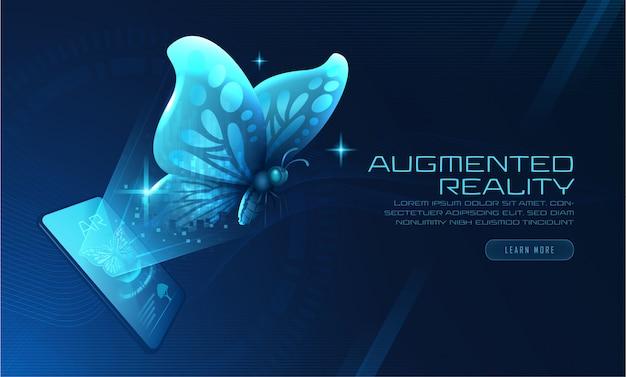 Papillon virtuel Vecteur Premium
