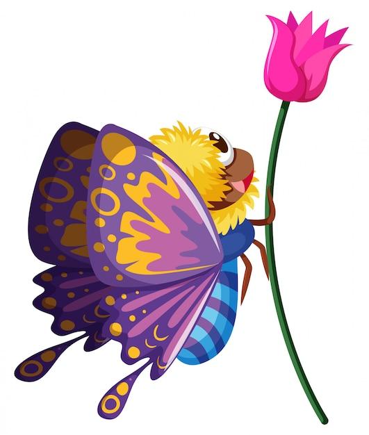 Papillon volant par la fleur rose Vecteur gratuit