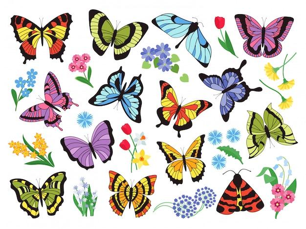 Papillons Colorés. Collection Simple Dessiné à La Main De Papillons Et De Fleurs Isolé Sur Fond Blanc. Collection Graphique Dessinée Insecte Volant Vintage Vecteur Premium