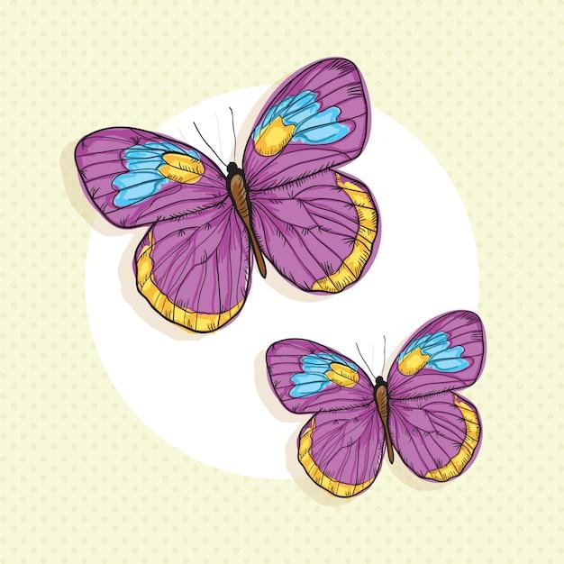 Papillons colorés sur fond vintage Vecteur Premium