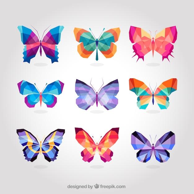 papillons color s g om triques t l charger des vecteurs premium. Black Bedroom Furniture Sets. Home Design Ideas