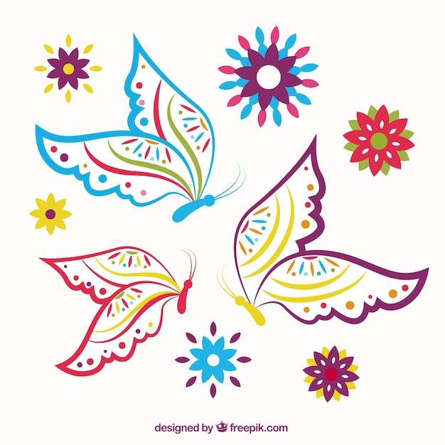 Papillons Colorés Sommaires Vecteur gratuit