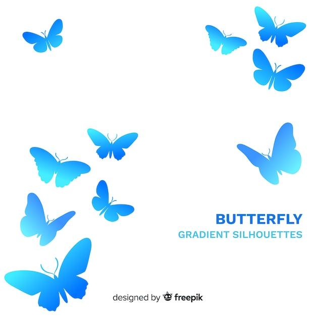 Papillons dégradés volant à fond Vecteur gratuit