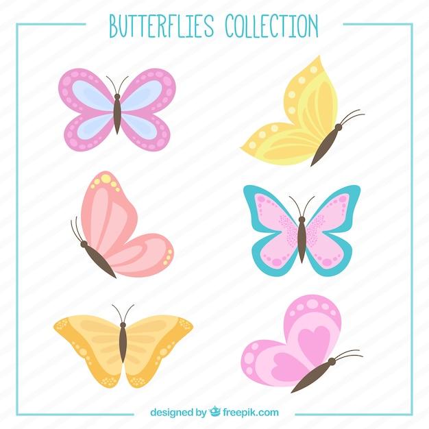 Papillons dessinés à la main mis Vecteur gratuit