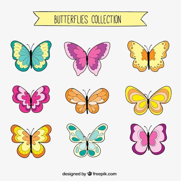Papillons dessins mis Vecteur gratuit