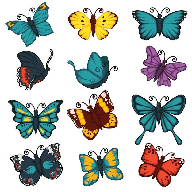 Papillons espèces types décoration design element vector set d'icônes Vecteur Premium
