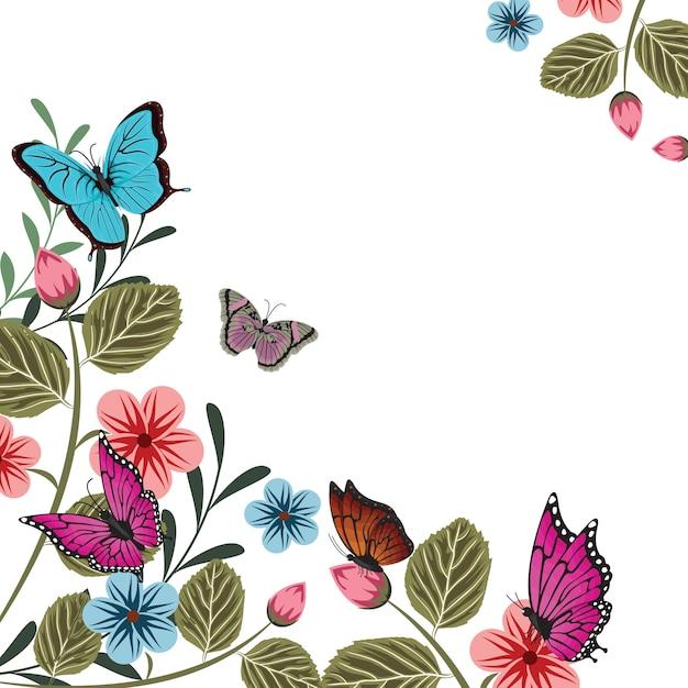 Papillons Fleur été Floral Printemps Fond Cadre Vecteur Premium