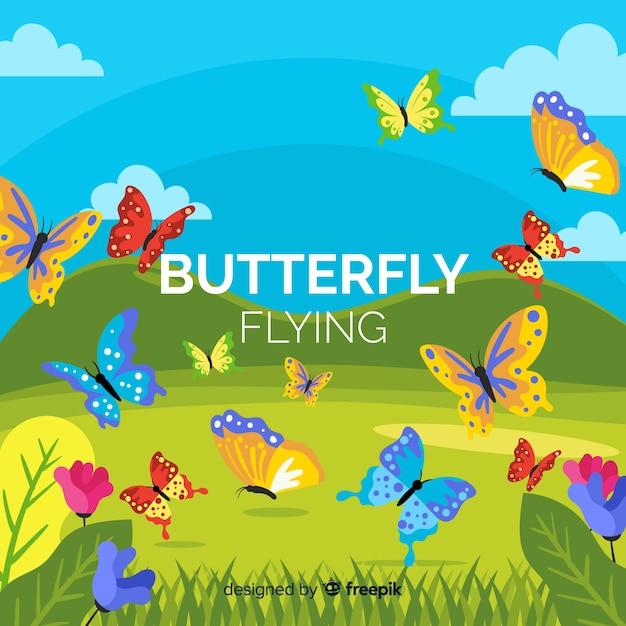 Papillons Volant Dans Un Fond De Champ Vecteur gratuit