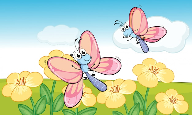 Un papillons volants Vecteur gratuit
