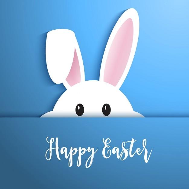 Pâques fond avec le lapin mignon qui sortait Vecteur gratuit