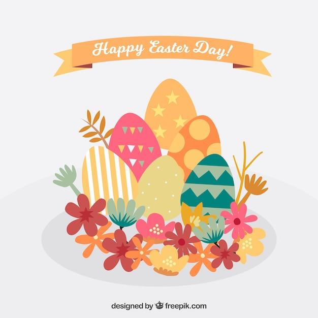 Pâques fond avec des œufs et des fleurs Vecteur gratuit