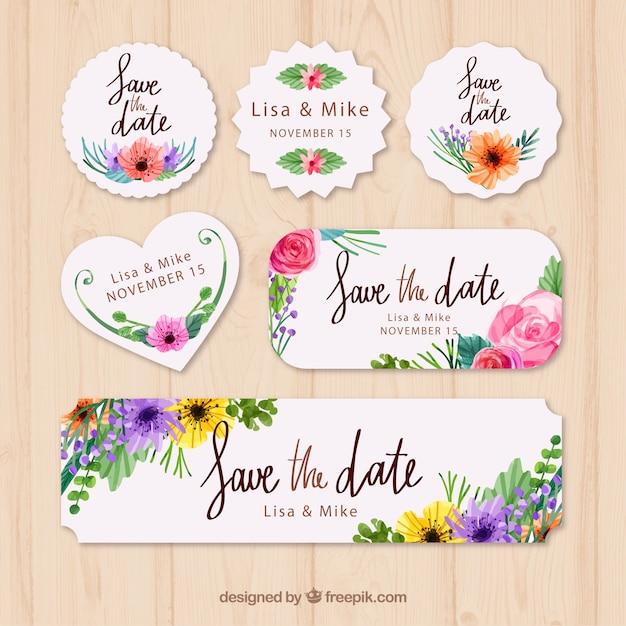 Paquet d'aquarelle d'étiquettes de mariage florales Vecteur gratuit