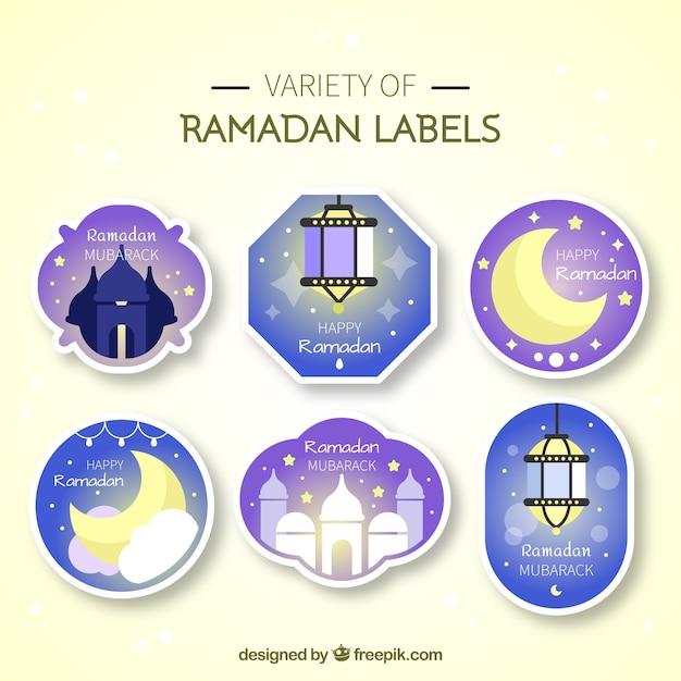 Paquet D'autocollants Ramadan Vecteur gratuit