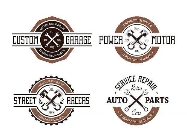 Paquet de badges de réparation de service rétro Vecteur gratuit