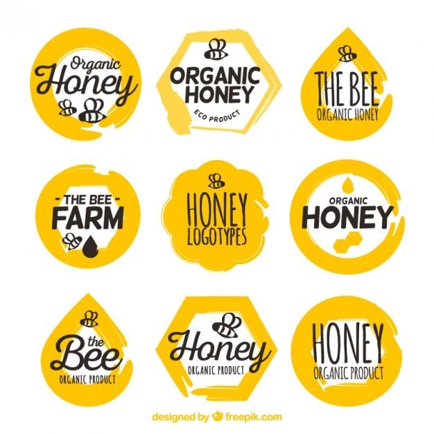 Paquet de beaux autocollants de miel biologique Vecteur gratuit
