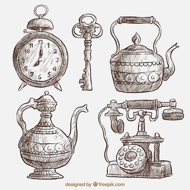 Paquet de belles esquisses d'objets anciens Vecteur gratuit