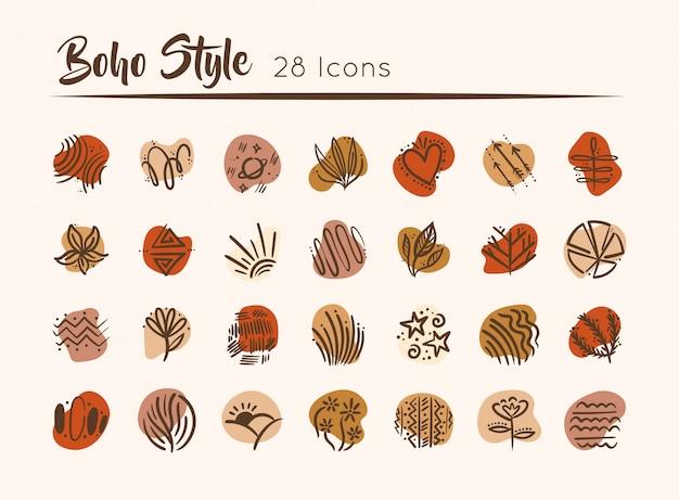 Paquet De Boho Set Icons Illustration Vecteur Premium