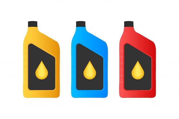 Paquet De Bouteille En Plastique D'huile Moteur. Vecteur Premium